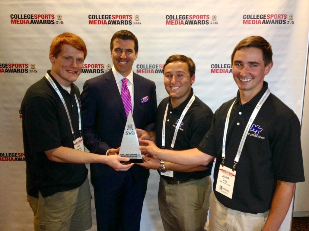 EMC Productions students pick up the award for best student-produced sports broadcast in the nation.