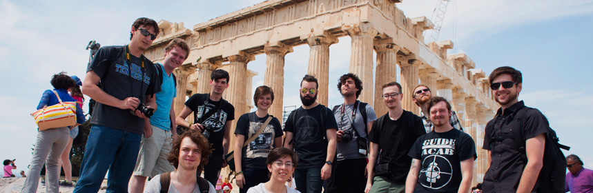 EMC class takes a break for a group shot at the Acropolis.