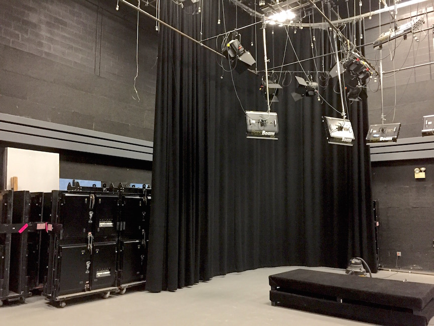 Studio 1 has been reconfigured with a prop storage space behind the drapes at the south end of the room.